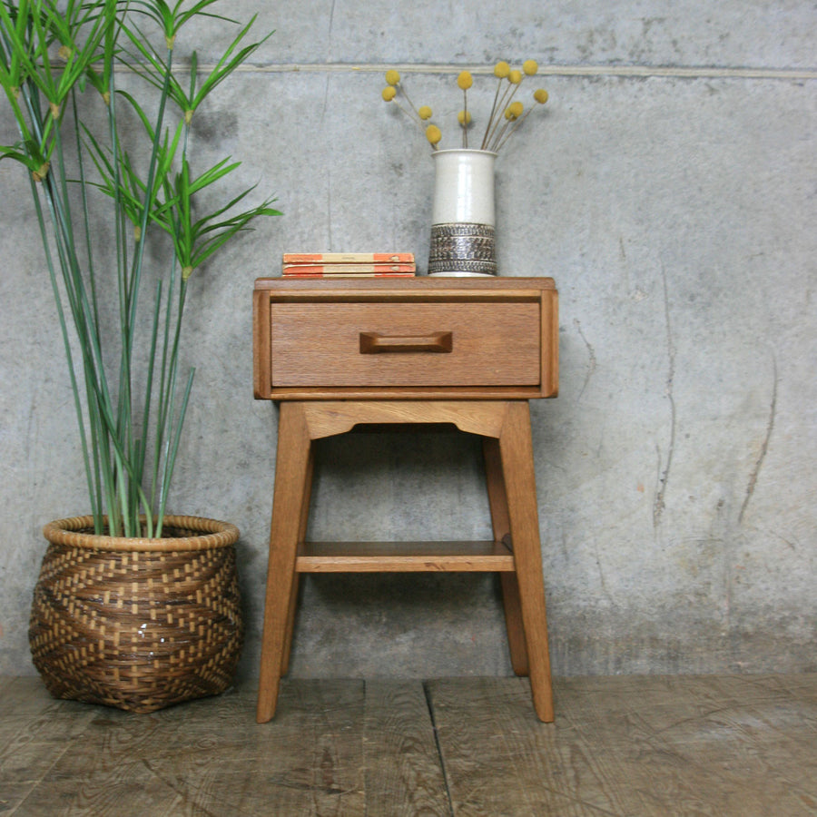 Mid Century G-Plan Oak Bedside / Side Table