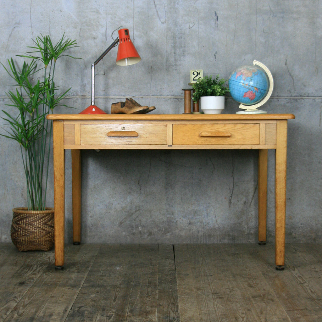 Vintage Rustic Oak School Teachers Desk