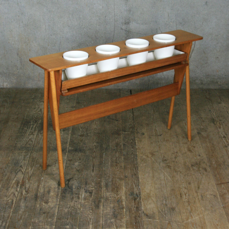 Mid Century Oak Plant Stand Display #2