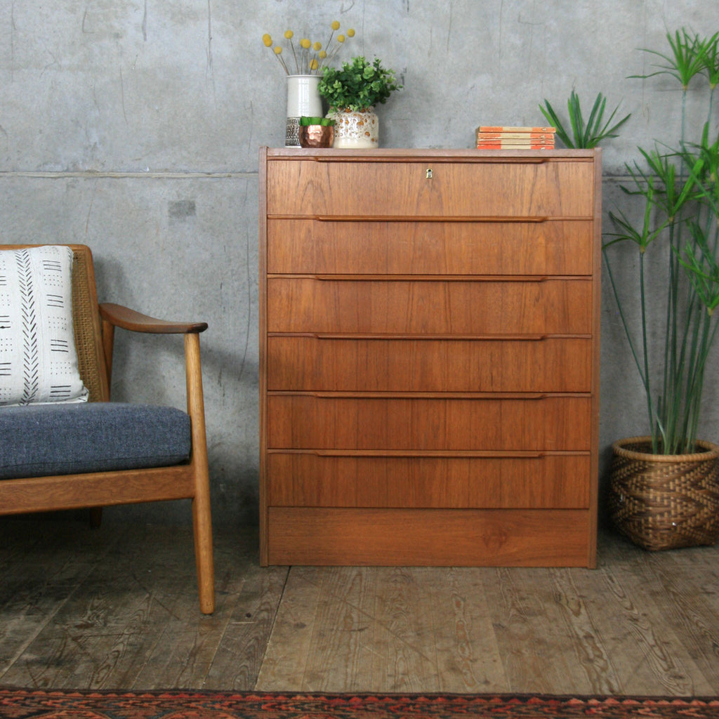 Danish Mid Century Teak Tallboy Chest of Drawers