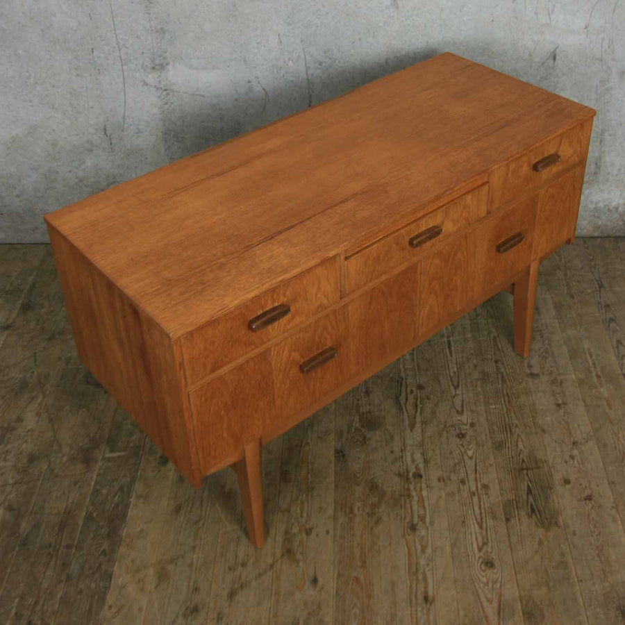 Petite Vintage Teak Lowline Chest of Drawers / Sideboard