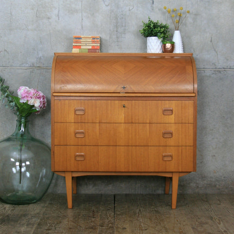 Mid Century Swedish Roll Top Bureau Desk