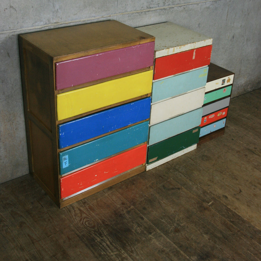 Collection of Vintage Japanese Storage Drawers - Retail Display