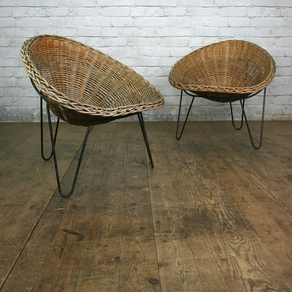 Mid Century Wicker Tub Chair by Conran u2013 2 in stock & Mid Century Wicker Tub Chair by Conran u2013 2 in stock - Mustard Vintage