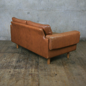 Midcentury Danish Two Seater Tan Leather Sofa