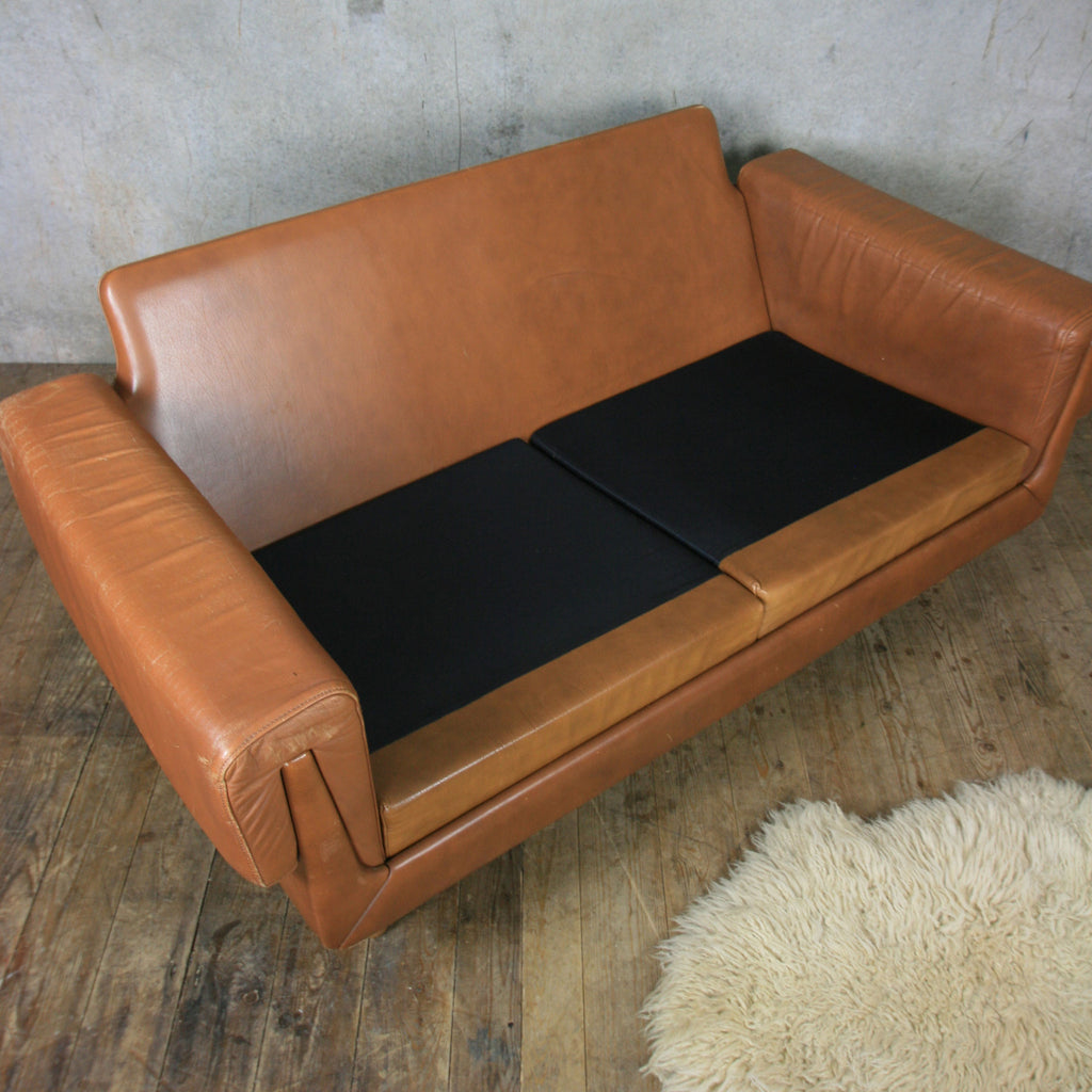 Midcentury Danish Two Seater Tan Leather Sofa Mustard Vintage ~ Tan Leather Mid Century Sofa
