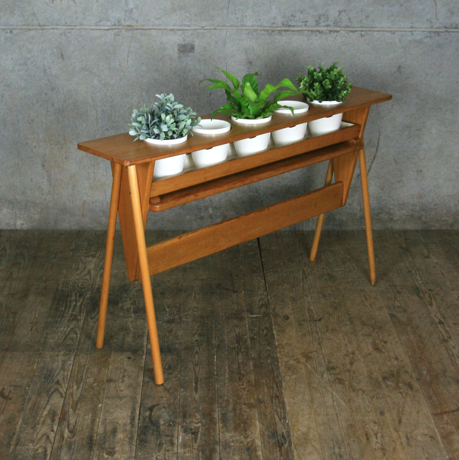 Mid Century Oak Plant Stand Display #1