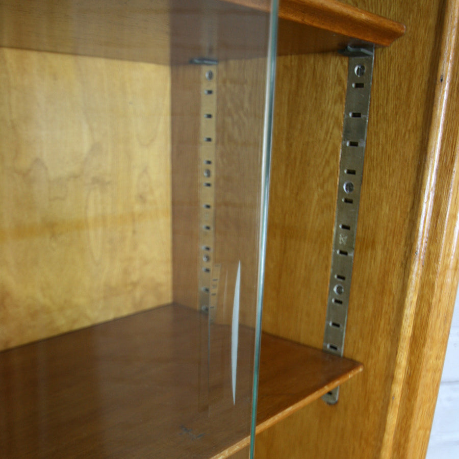 Vintage Oak Glazed Storage / Shop Display Cabinet