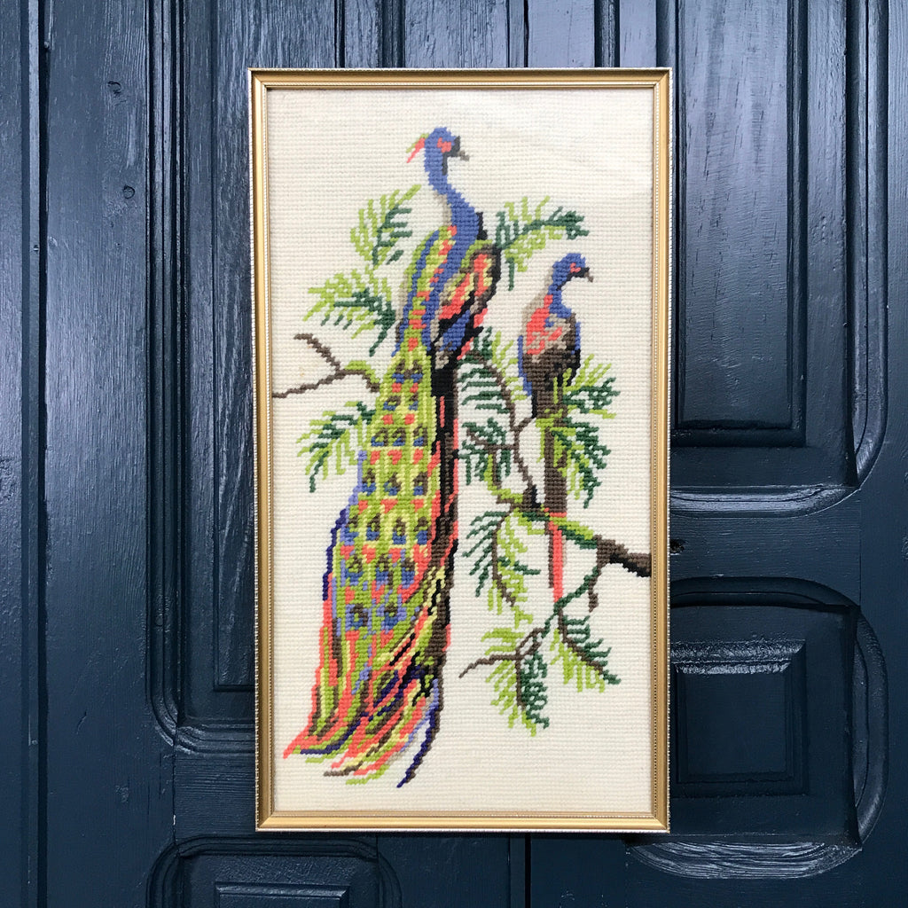 Vintage Framed Needlework - 'Peacocks'