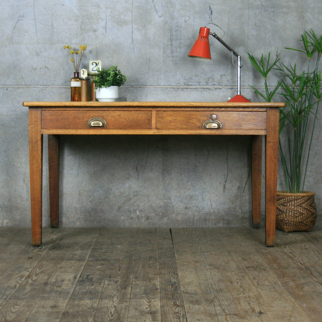 Large Vintage Rustic Oak Desk