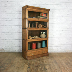 Vintage Oak Solicitors Sectional Bookcase