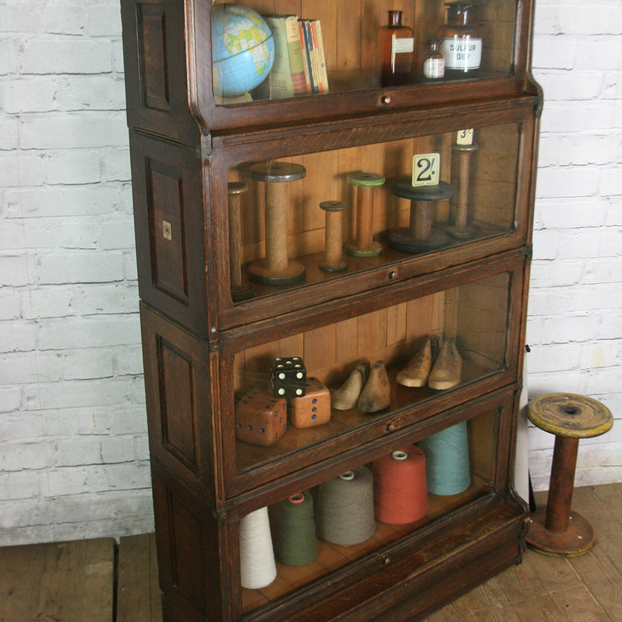 Vintage Oak Barristers Sectional Bookcase