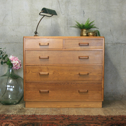 Large Mid Century Oak Chest of Drawers #1710