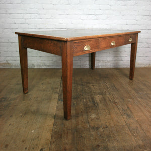 Antique Edwardian Vintage Oak Library Table Desk