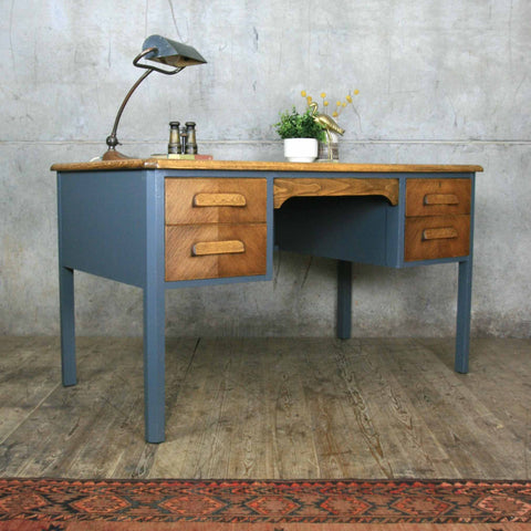 Mid Century Oak Painted School Teachers Desk