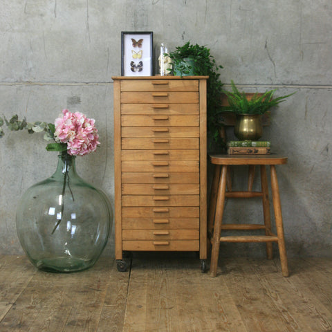 Vintage Oak 'Glamor' Haberdashery Chest of Drawers