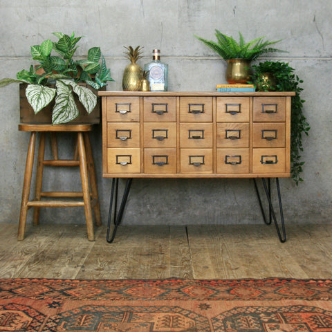 Vintage Light Oak Index Drawers/Cabinet/Drinks Bar
