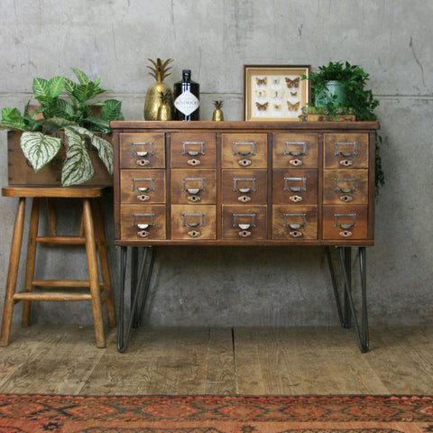 Vintage Oak Index Drawers/Cabinet/Drinks Bar