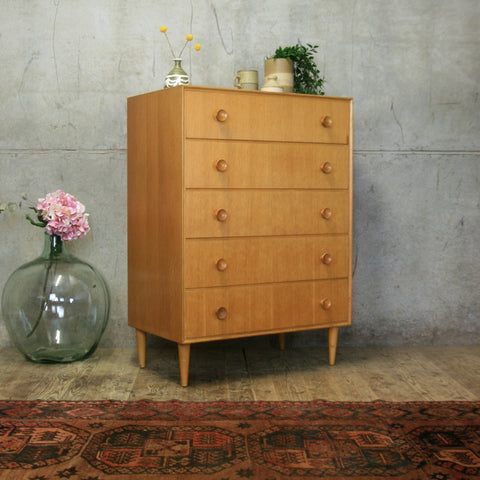 Mid Century Oak Chest of Drawers Tallboy #1804