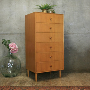vintage_oak_meredew_tallboy_chest_of_drawers