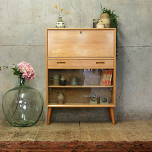 vintage_oak_mid_century_bookcase_display_cabinet_bureau
