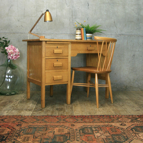 Small Mid Century Oak School Desk #0908