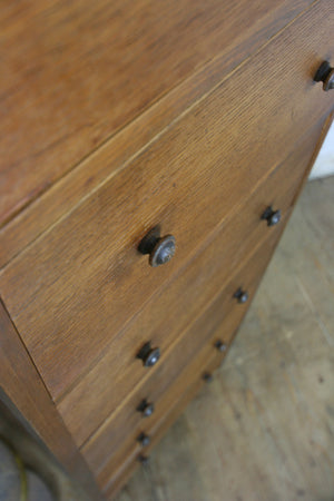 Vintage Oak Post Office Chest of Drawers