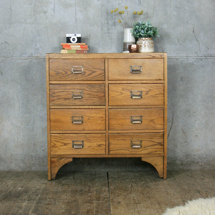 Vintage Oak School Chest of Drawers