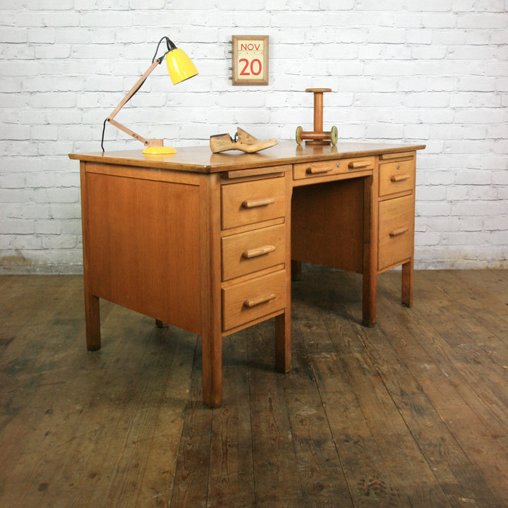 Vintage Oak School Teachers Desk