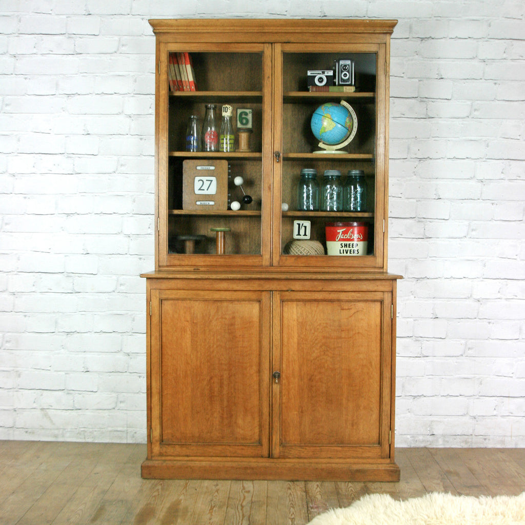 Victorian Oak School Display Cabinet