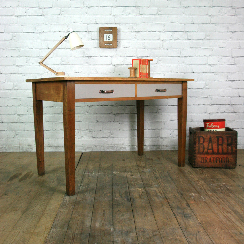 Vintage industrial oak rough luxe school desk