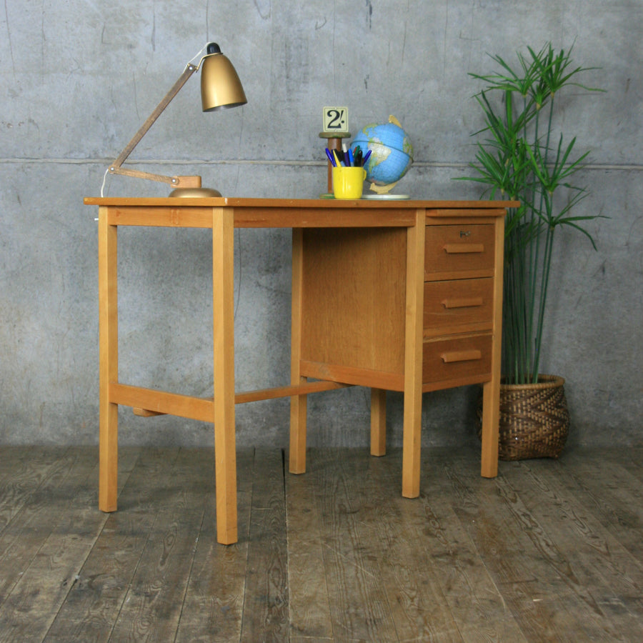 Mid Century Oak School Desk