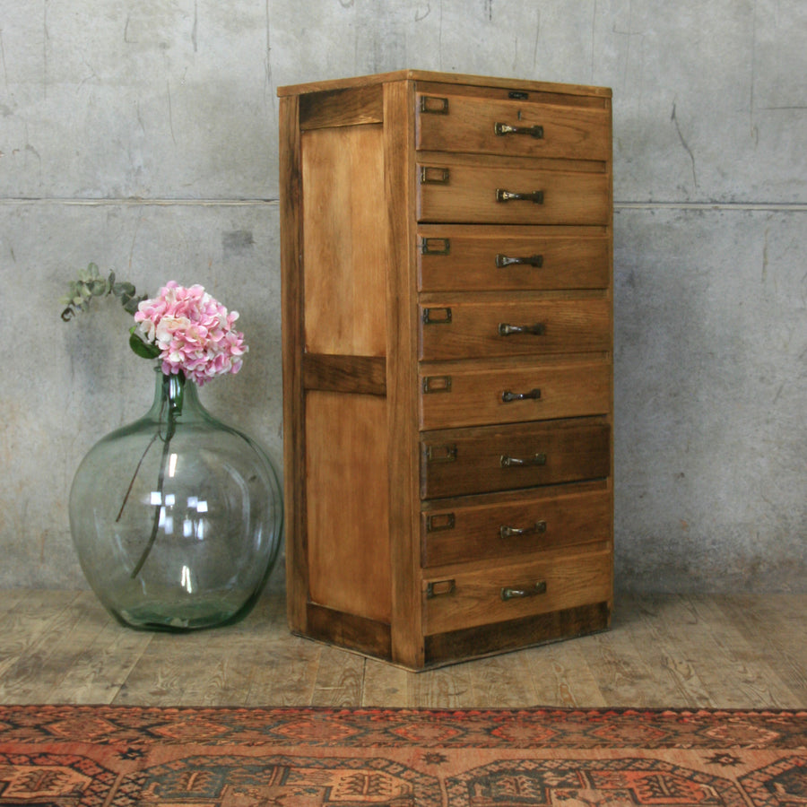 Vintage Rustic Oak Chest of Drawers