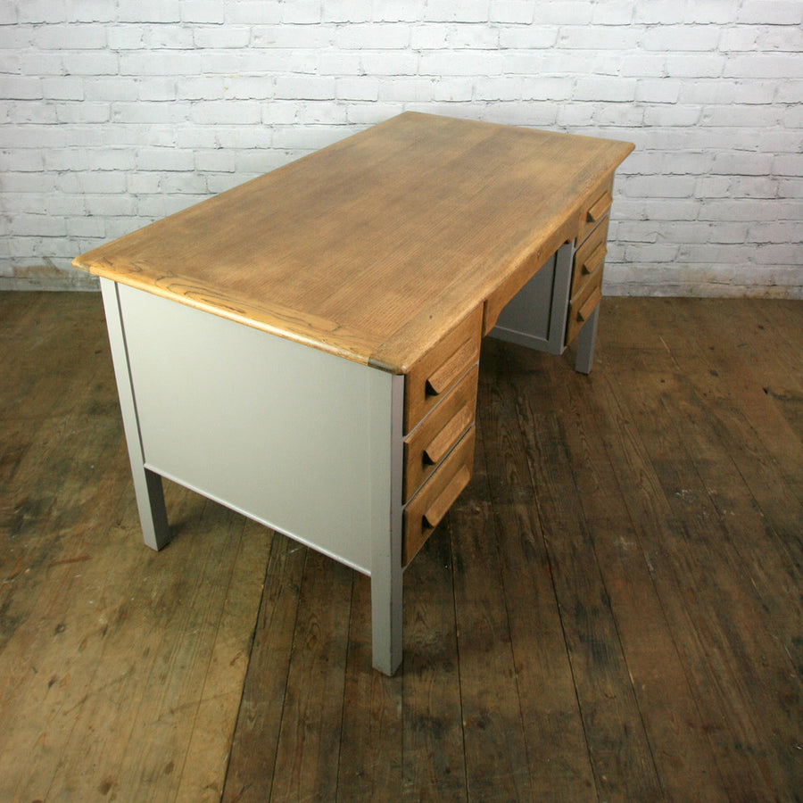 Vintage Painted Oak Twin Pedestal Desk