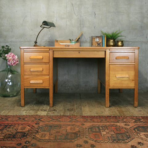 Large Vintage Oak Pedestal Desk #0904
