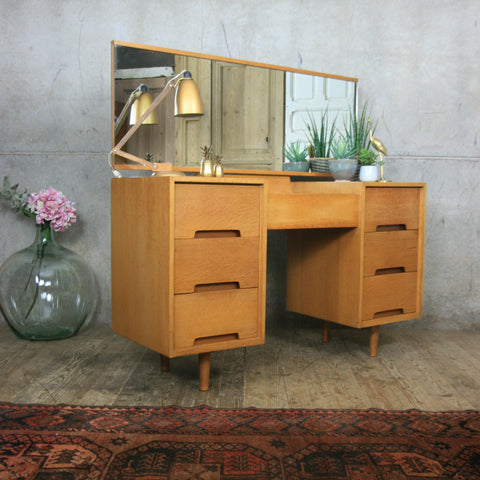 Mid Century Stag Oak Dressing Table / Desk