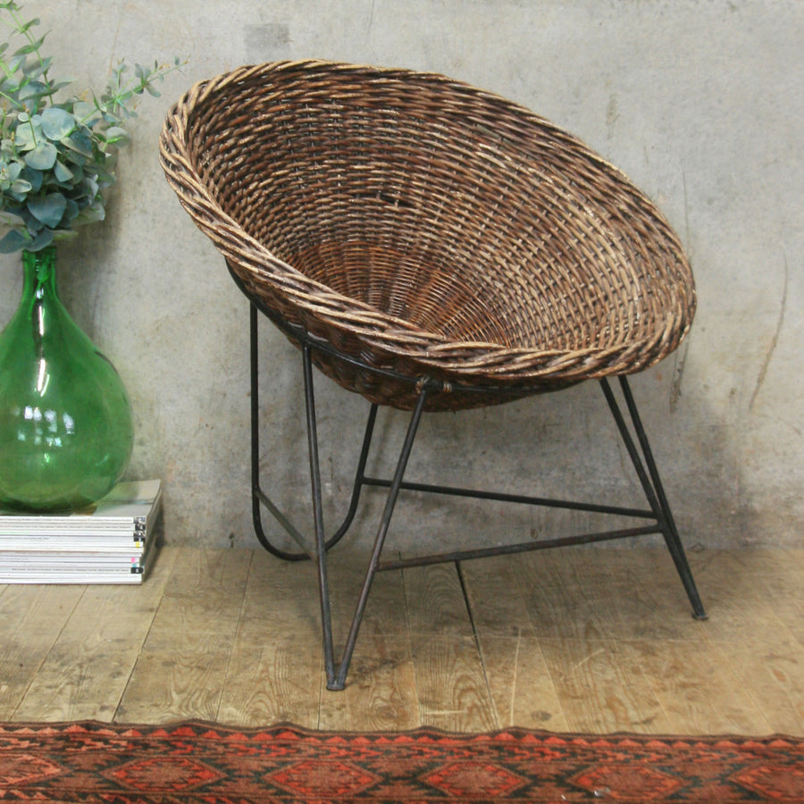 Mid Century Wicker Basket Chair (Pair available) - 0402d