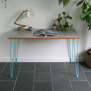 Reclaimed Hairpin Desk / Table - Grey Top/Blue Legs