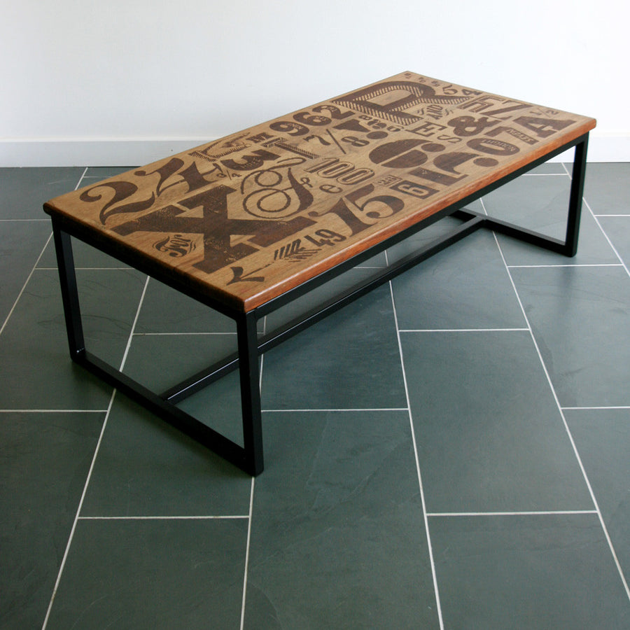 *LIMITED EDITION* 'The Harnall – Grafika' Typography Inspired Iroko Coffee Table