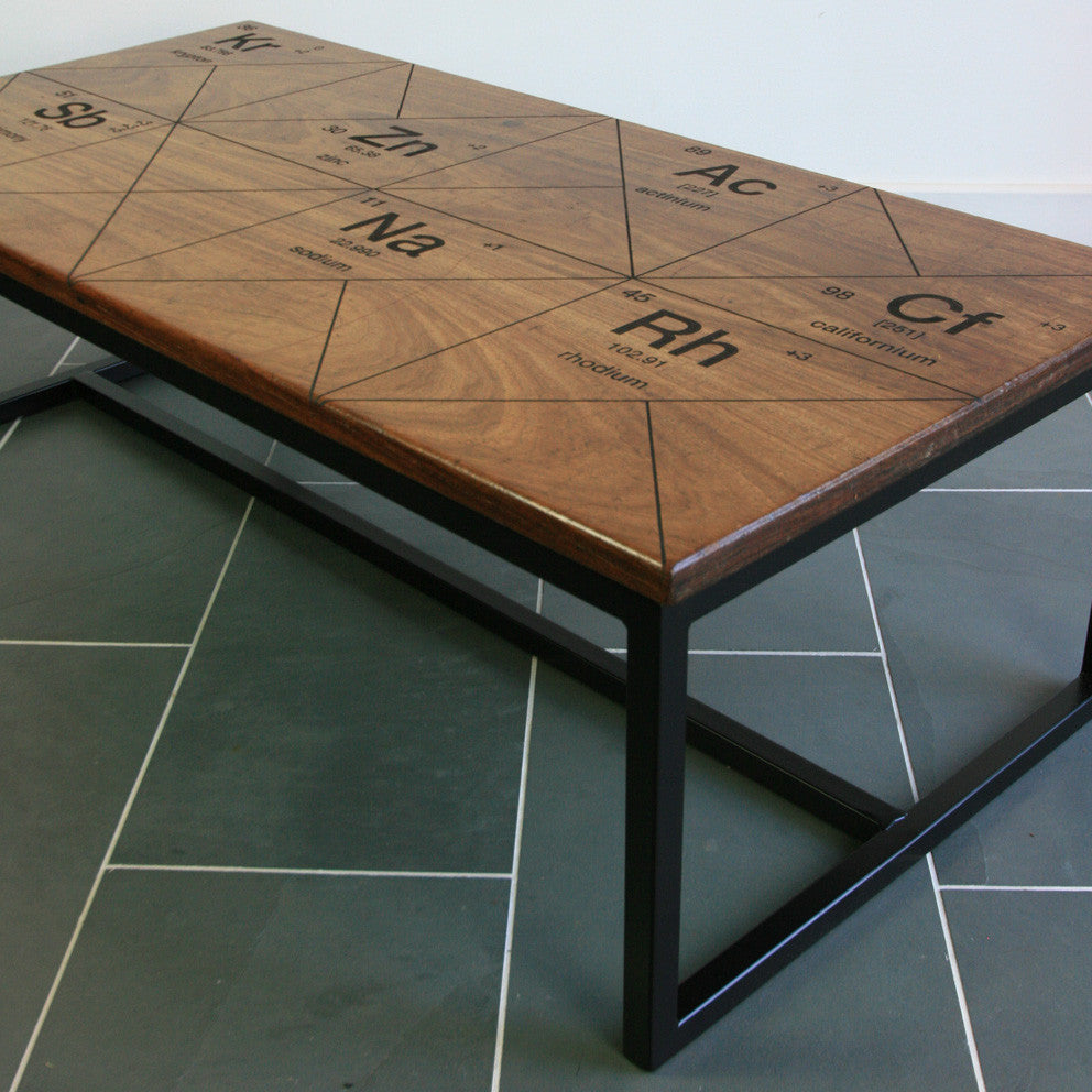 Harnall taste delight reclaimed iroko coffee table mustard vintage limited edition the harnall periodic table breaking bad inspired iroko gamestrikefo Choice Image