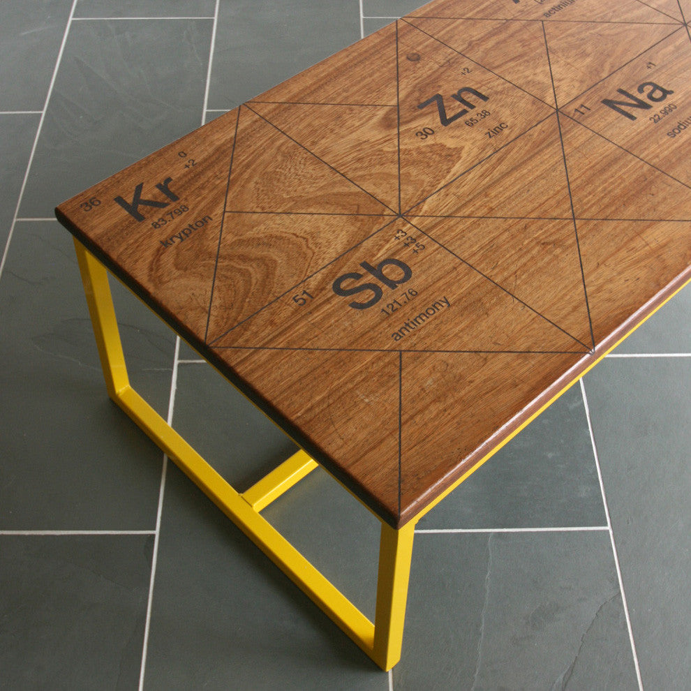 Harnall taste delight reclaimed iroko coffee table mustard vintage limited edition the harnall periodic table breaking bad inspired iroko gamestrikefo Image collections