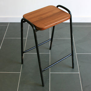 Vintage Reclaimed Iroko School Laboratory Stacking Stools x 1