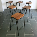 Set of 6 Vintage Iroko School Laboratory Stacking Stools
