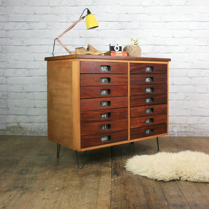 Vintage Industrial Reclaimed Iroko School Plan Chest