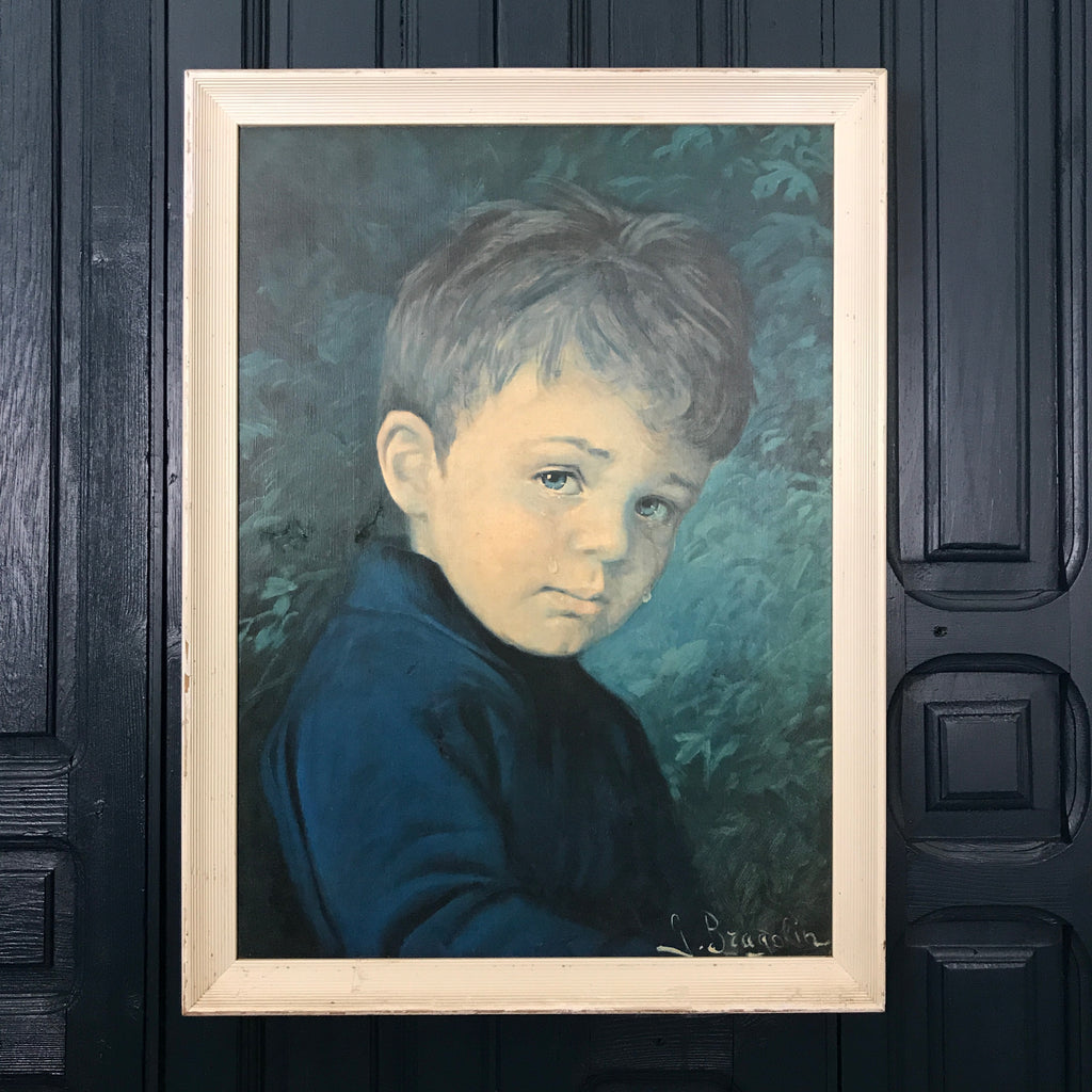 Mid Century 'Crying Boy' Framed Print