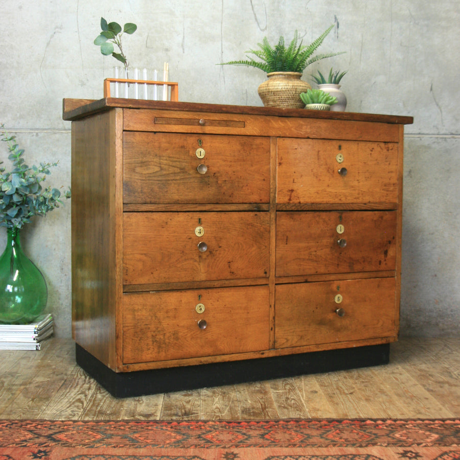 vintage_rustic_oak_antique_school_lab_chest_drawers