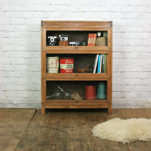 Vintage Oak Barristers Bookcase Display Cabinet