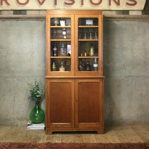 vintage_rustic_oak_kitchen_cupboard_school_display_cabinet