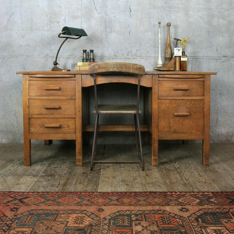 Large Vintage Oak Pedestal Desk