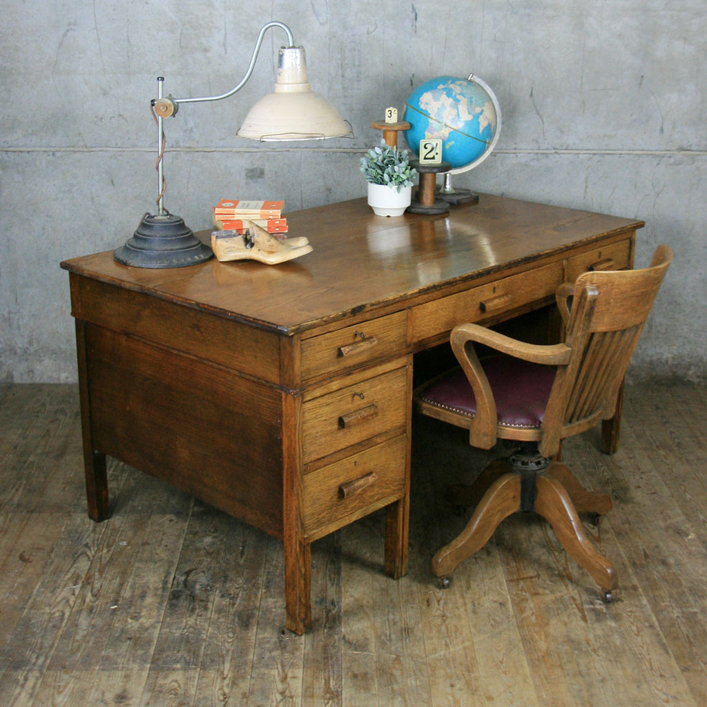 Large Vintage Oak School Teachers Desk - Large Vintage Oak School Teachers Desk - Mustard Vintage